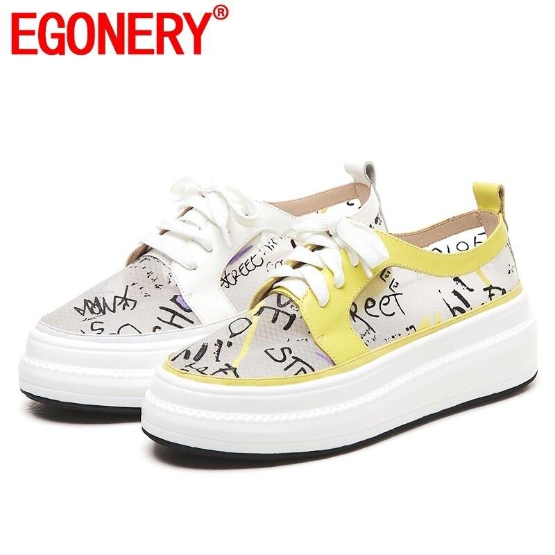 EGONERY รองเท้าผู้หญิง 2019 ฤดูร้อนใหม่แฟชั่นของแท้หนังตาข่ายผู้หญิงแฟลตภายนอกรองเท้าส้นสูงแพลตฟอร์มข้ามผูกสุภาพสตรีรองเท้า-ใน รองเท้าส้นเตี้ยสตรี จาก รองเท้า บน   1