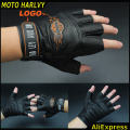 2016 new selling Harley biker leather gloves men's leather motorcycle gloves half finger gloves