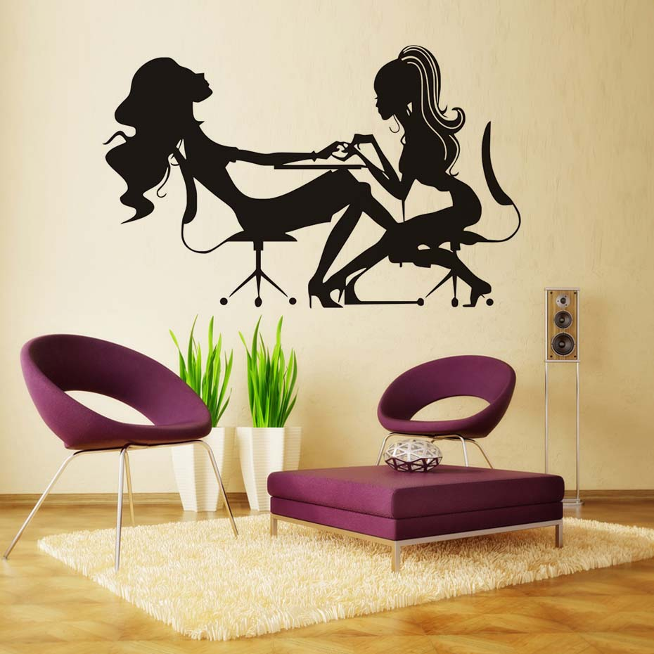 Manicure Shop Vinyl Wall Decal Sticker Girl Hands Polish