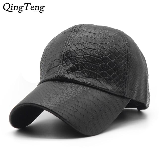 Plain Black PU Leather Baseball Cap Men High Quality Fall Winter Brand Hats  For Women 2018 New Fashion Cap 723e3bad2d6