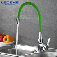 LEDEME Brass Kitchen Faucet Pull Out Single Hole Brass 360 Degree Single Handle Vessel Sink Vintage