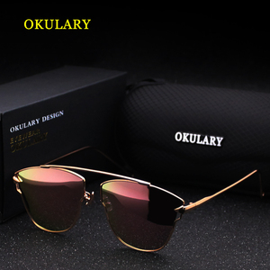 Image 2 - 2020 Women Polarized Sunglasses Blue/Pink/Silver Lens UV400 Metal Frame Lady Sunglasses With Box