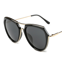 NAHAN Women Retro Copper Frame Sun Glasses Brand Designer Mirror Driving UV400 Women Round Sunglasses Polarized