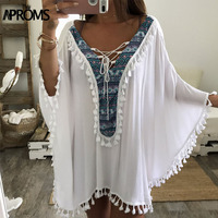 Aproms Enthnic Print Tassel Beach Plus Size Blouses Women Boho V Neck Lace Up White Tunic
