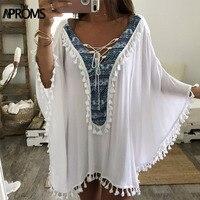 Aproms Enthnic Print Tassel Beach Plus Size Blouses Women Boho V Neck Lace up White Tunic Top Bikini Cover Kimono Shirt Blusas