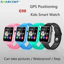 Хорошее G98 gps Bluetooth дети Смарт часы с Камера шагомер Водонепроницаемый наручные SOS анти-потерянный Сенсорный экран pk Q50 Q90 df25 df27