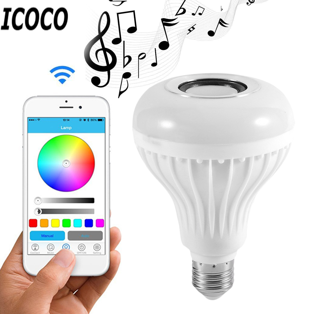 ICOCO 28LEDs 12W Smart Wireless Bluetooth LED Stereo Audio Speaker RGB Colorful Bulb Light Music Lamp+Remote controller Hot Sale e27 app remote control professional bluetooth smart led bulb intelligent colorful flashing round head music lamp led night light