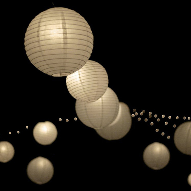 10pcs/Lot (6, 8, 10, 12, 14, 16inch) Warm White LED Lantern Lights Chinese Paper Ball Lampions For Wedding Party Decoration 1