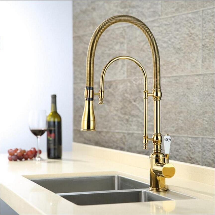 Luxury Gold/Chrome Kitchen Faucet Tap Two Swivel Spouts Extensible Spring Mixer Pull Out Kitchen Sink Faucet Pull Down Sink Tap шапка truespin sunshine classic beanie black white