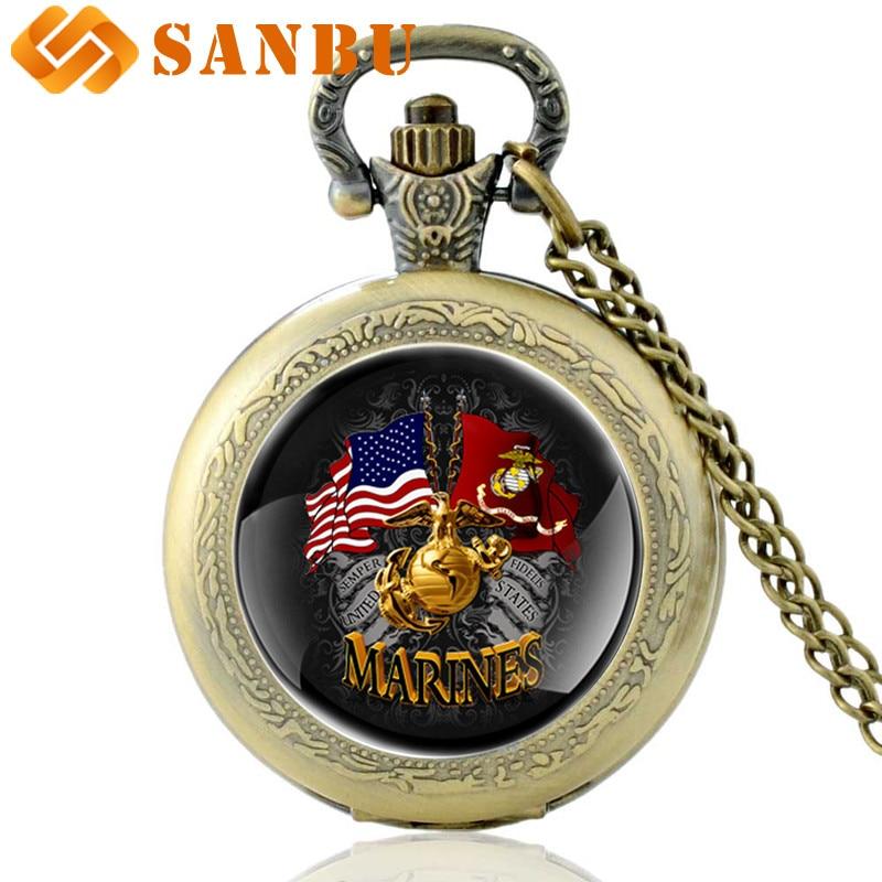 New Arrivals Gold United States Marine Corps Flag Quartz Pocket Watch Vintage Men Women Bronze Pendant Necklace Antique Jewelry