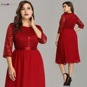Image 3 - Женское коктейльное платье Ever Pretty, бордовое кружевное платье трапеция до колена, с рукавом до локтя, большие размеры, EZ07641, лето 2019