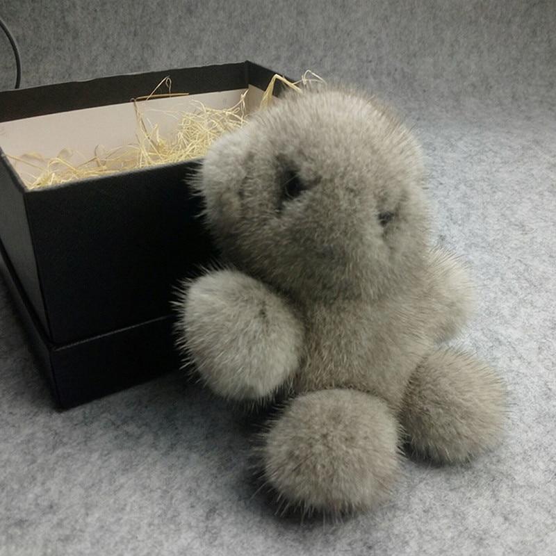 Alta calidad baratija piel pompom llavero llaveros del conejito en el zorro oso corte llavero piel POM para los bolsas anime - 4