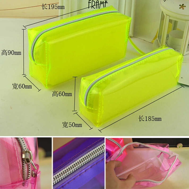 Transparent Plastic School Lovely Pencil Case Pen Holder Bag Pouch Painting Brush Pens Storage Case New Gift Stationery