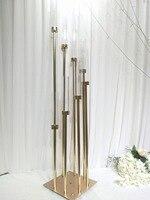 8 головок Металл канделябр держатели акриловые свадебный стол центральным цветок стенд подсвечник