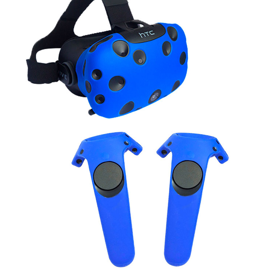 For HTC VIVE VR Virtual Reality Headset Silicone Rubber VR Glasses Helmet Controller Handle Case Shell