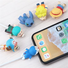 Cute Stitch Dragon Ball Cartoon Cable Bite Protector Data Line Cord Wire Winder Cover For iphone7 8Plus Lovely Cable Organizer(China)