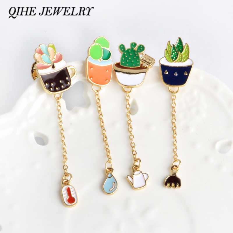 QIHE JEWELRY Succulent Potted Aloe Vera Potted Plant Enamel Pin Brooch Lapel Pin Fashion Jewelry Wholesale