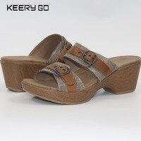 Hoge kwaliteit eerste laag van koeienhuid met vrouwelijke sandalen gezondheid schoenen plus size beschikbaar schoenen lederen 36-40