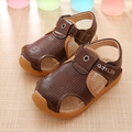 2016 Summer hollow out breathable sandals boys fahion cow muscle sole antislip leather shoes kids Children flats beach shoes