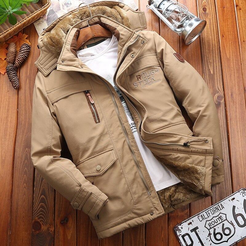 Мужская парка с капюшоном, повседневная классическая зимняя куртка, ветрозащитная, теплая, с подкладкой, модная верхняя одежда размера плюс 4XL 5XL 6XL 2020|Парки| | АлиЭкспресс
