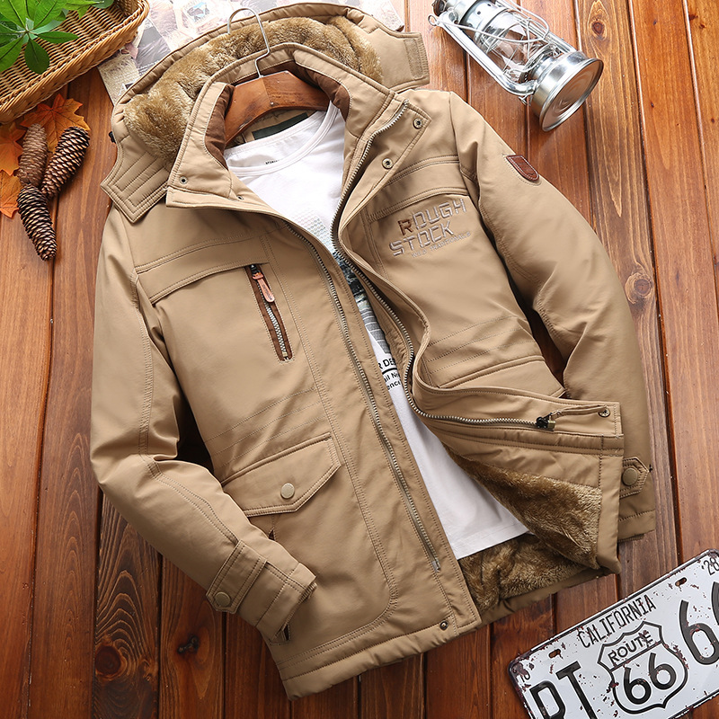 Winter Jacket Coat Padded Outerwear Parka Windbreak Hooded Warm Casual 5XL 6XL Men's title=