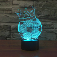 2016 Foreign Trade New Football Crown 3D Lights Colorful Touch LED Visual Light Gift Atmosphere Table