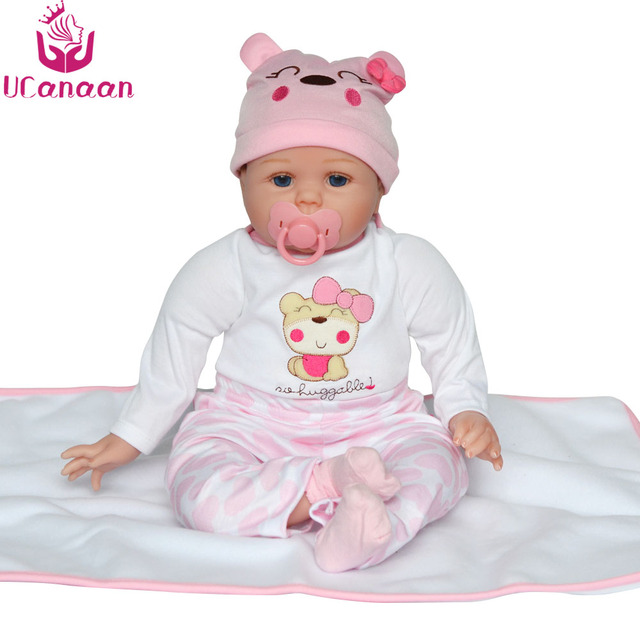 UCanaan 55CM Reborn Doll Silicone Baby New Born Toys For Children Handmade Cloth Body Baby Alive Bonecas For Girls Collection