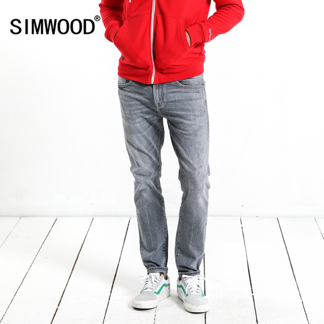 SIMWOOD 2018 Autumn Scratched Jeans Men Slim Fit Fashion High Quality Gray Denim Trousers Brand Clothing 180091