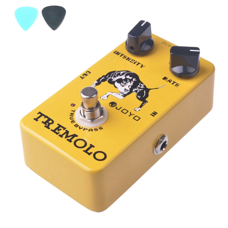 JOYO JF-09 Tremolo Effects Guitar Pedal tompbox Intensity Rate Adjustable True Bypass Guitar Accessories joyo jf 325 tremolo bass guitar effects pedal tone of tube amplifier adjustable luminium alloy true bypass free shipping