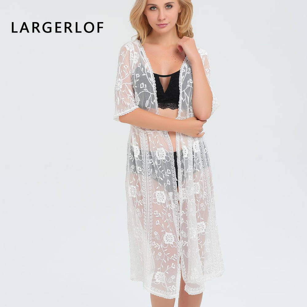 Women Beach Sarong Kaftans Bathing Suit Cover Ups Lace Transparent Hook Flower Cape Long Design Female Summer BK47147