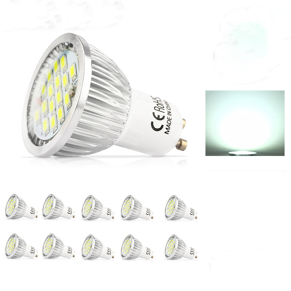 10X High Quality Assurance GU10 5.5W SMD 5730 LED Led Spotlight bulbs Warm White Cold White AC85-265VLED Spot Aluminum lamp cup 2pcs brand new high quality superb error free 5050 smd 360 degrees led backup reverse light bulbs t15 for jeep grand cherokee