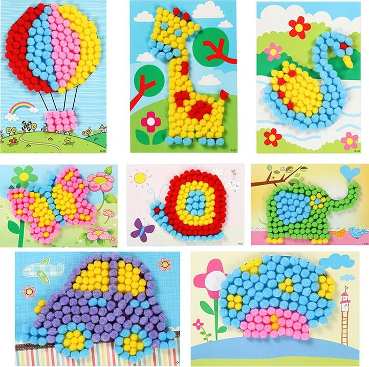1Pcs Kids Creative DIY Plush Ball Painting Stickers Children Educational Handmade Material Cartoon Puzzles Crafts Toy
