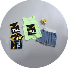 2017 Character Summer Baby Clothing Suit Tank Vest Top + Shorts Kid Boys Summer Sleeveless Sets Children Girl Clothes Set