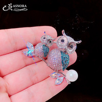 ASNORA Women's Fashion Brooch Shiny Zircon Cute Owl Animals Brooch Party Gifts High Quality Crystal Brooch
