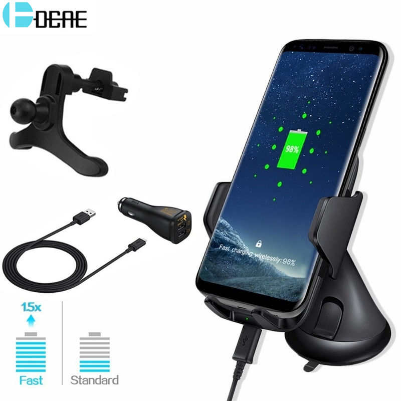 DCAE 10W Car Mount Qi Wireless Charger For iPhone XS MAX XR X 8 QC 3.0 Fast Wireless Charging For Samsung Galaxy S9 S8 Note 9 8