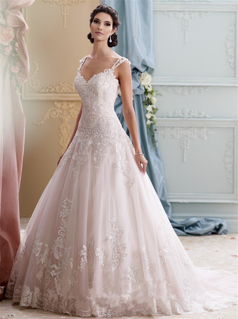 Spaghetti Strap Princess Wedding Dress