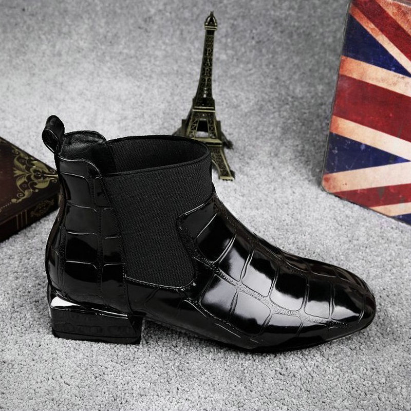 2018 New Style Patent Leather Ankle Boots Round Toe Thick Heel Chelsea Boots Elastic Fabric Women Boots Ladies Shoes Plus 35-42 2018 autumn new style genuine leather ankle boots pointed toe thick heel chelsea boots calf leather women boots ladies shoes
