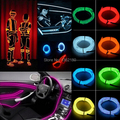 1M 2M 3M 5M 10 Feet EL Wire Neon led Light Rope For Party Car Decoration + BATTERY PACK  7Color 1 2meters Free FAST SHIPPING