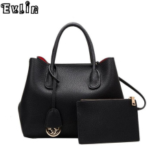 Evlin Famous Brand Women Bag Top-Handle Bags 2016 Fashion Women Messenger Bags Handbag Set Genuine Leather Composite Bag AW480