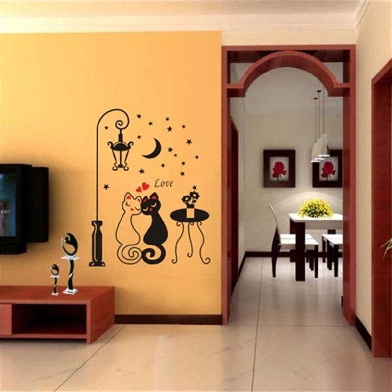 living room bedroom wall stickers lovers cat street lights wallpaper