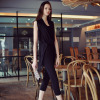 Original New 2017 Brand Summer Plus Size Sleeveless Elegant Black Jumpsuits Women
