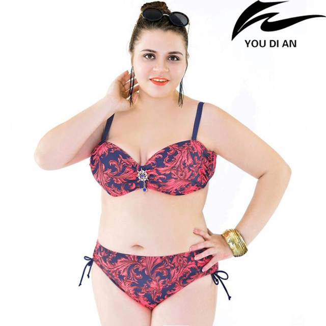 Online Shop Fat Girl Bikini Women Large Plus Size Swimwear Underwire