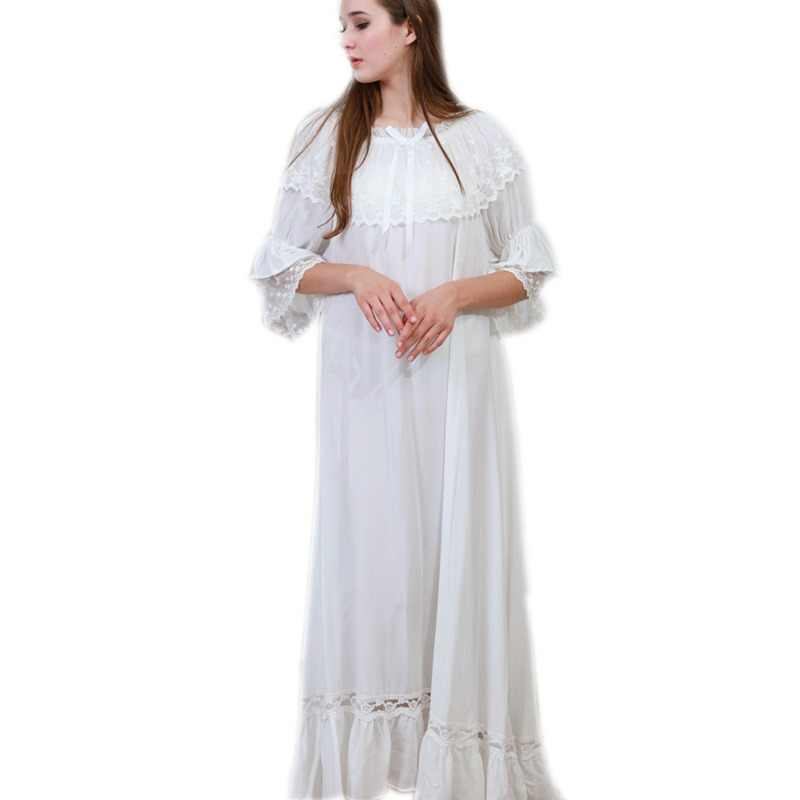 8ec426c819 Autumn Sleepwear Women Night Gown Home Wear Sleep Shirt Robe Dress Vintage  Nightgown Plus Size Cotton