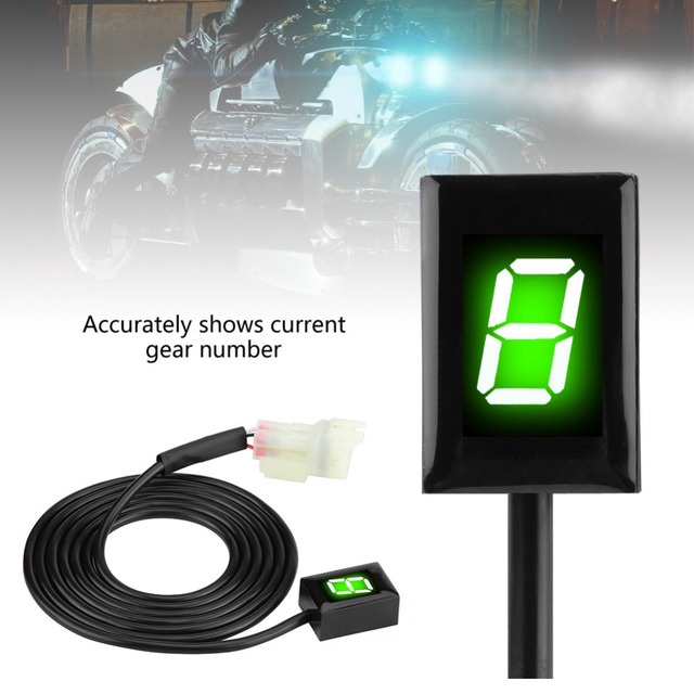 6 Speed Digital Gear Indicator Shift Lever Display for Kawasaki Motorcycle Gear Indicator Motorbike ECU Plug Mount Green Display