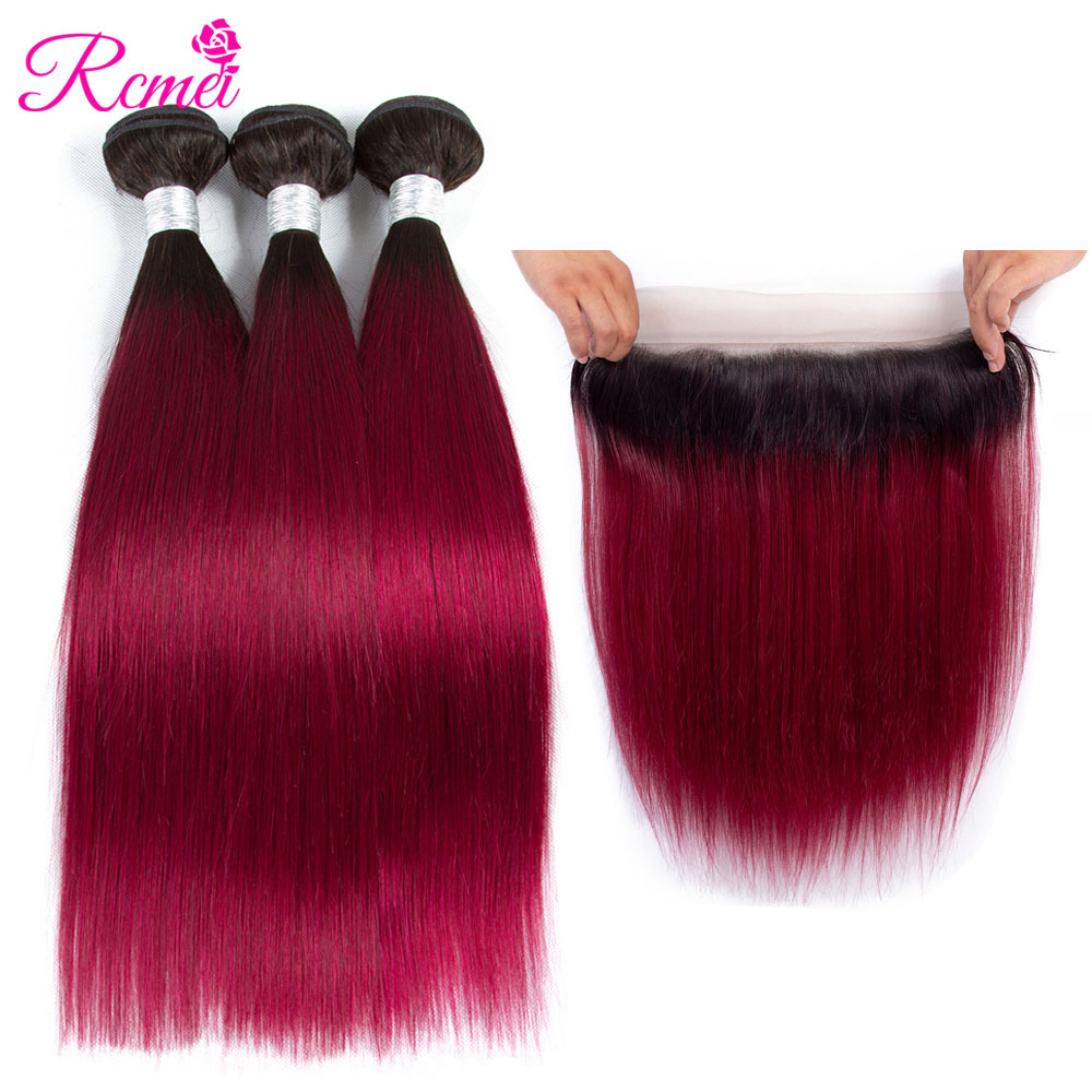 Rcmei Pre Colored Ombre Bundles With Frontal Brazilian Straight Hair T1B Burgundy Wine Red Bundle With