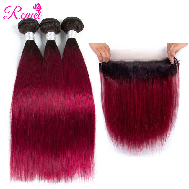Rcmei Pre-Colored Ombre Bundles With Frontal Brazilian Straight Hair T1B/Burgundy Wine Red Bundle With Frontal Closure 4PCS Deal