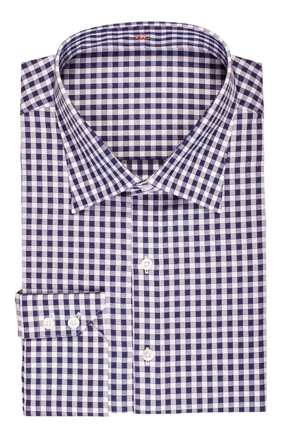 new arriving 100% cotton black and white with spread collar and two button cuff slim fit plaid shirts