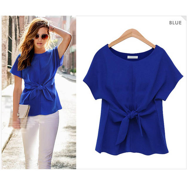 Europe   America fashion designer pure color chiffon blouse women summer  tops short sleeve o- 211b0dcdd7d5