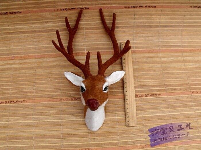simulation sika deer's head 28x12x18cm auspicious deer head Wall hangings toy fur model specimen ornament home decoration h1500