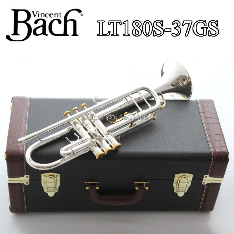 Brand New Professional Bach Trumpet Plate Silver Pipe Body Gold-Plated Key Carved Bb Trumpet Drop Adjustable Trumpet LT180S-37GS new genuine americano top bach trumpet gold and silver plated silver ab 190sbach small musical instruments professional